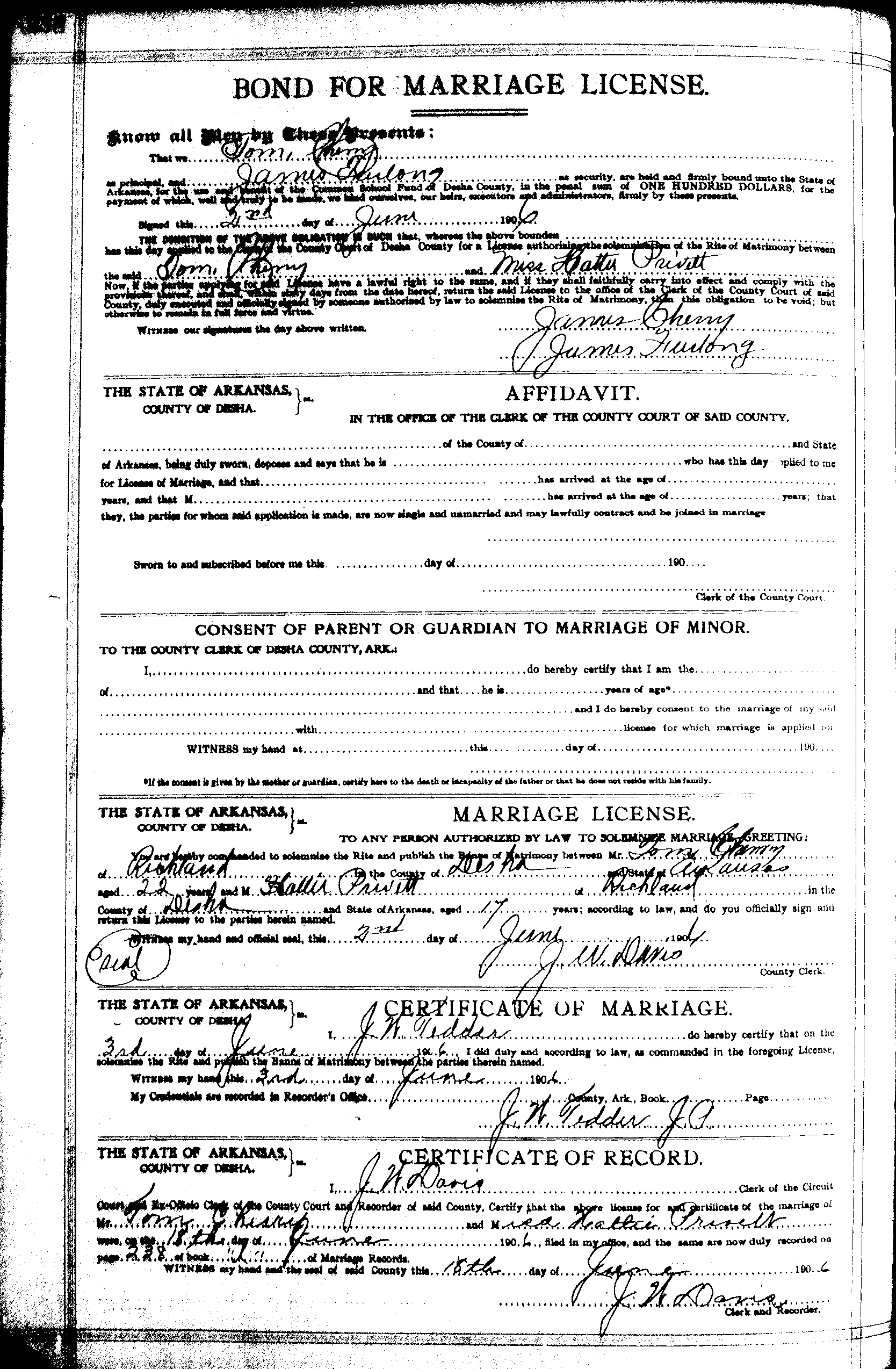 Privett family the privett family photo album a marriage licence in desha county lists hattie privett marrying tom cherry on 621906 xflitez Images